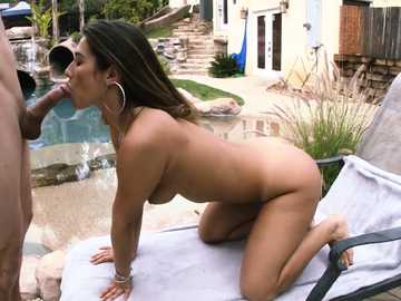 Eva Lovia enjoys a huge cock outdoors