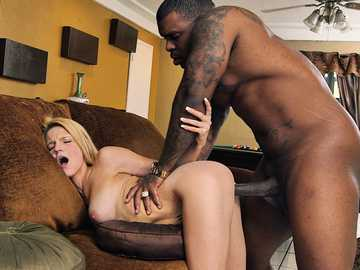 Blonde whore Hope Harper enjoys taking black cock in her skinny pussy