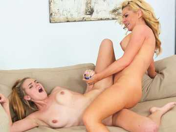 Scissor style lesbian action by teen Cosima Knight and her stepmom Sasha Sean