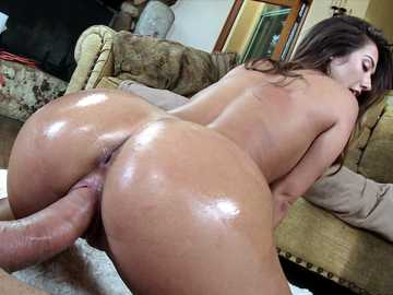 Brunette Eva Lovia doggy style pussy fucking sex while her ass oiled