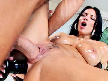 Huge tits French chick Anissa Kate gets her holes a double penetration in a one on one action