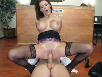 Horny work fantasies about Peta Jensen gets a hardcore pussy fucking by the bailiff