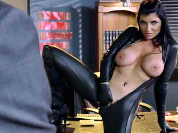 Hot brunette assassin with big Romi Rain seducing her boss at the office in a softcore action