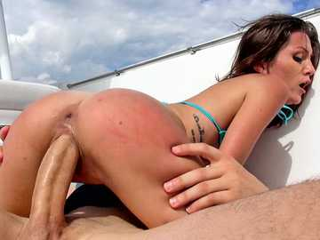 Petite 19 year old brunette Renee Roulette gets her narrow anal hole drilled on the boat
