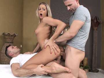 Christen Courtney gets double penetration experience from her BF and nasty masseur