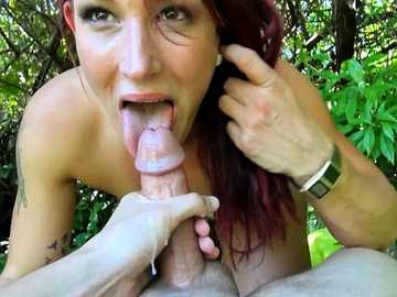 Hungry MILF Ryan Hart ate the dick and swallowed the jizz for money in a park