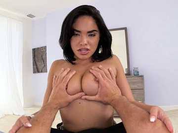 Busty brunette Selena Santana teases her big-dick male in POV movie