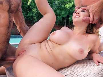 Kagney Linn Karter takes two in desperate outdoor threesome with husband