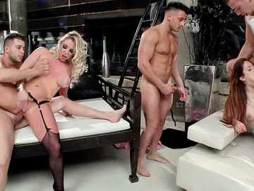 Yummy babes Victoria Summers and Rebecca Volpetti get their asses explored by different dicks