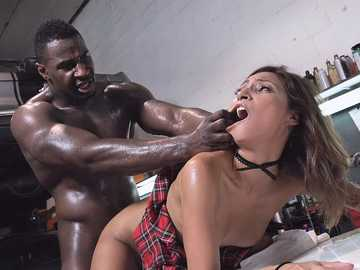 Sizzling chick Jade Jantzen gets fucked by the black guy on the hood of her car