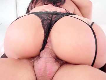 Busty girl in black underwear and stockings rides the fat schlong of Nacho Vidal