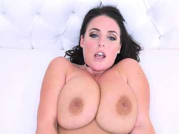 Brunette with huge brown nipples and big tits Angela White takes on the black monster cock