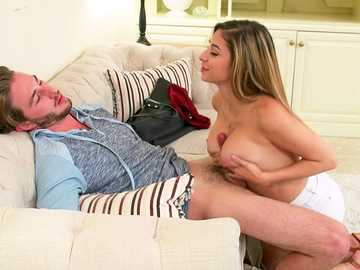 Nina North uses her sweet natural tits for titty fucking during blowjob
