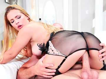 Hot Sloan Harper does not take her sexy lingerie off during pussy fucking