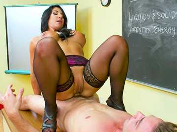 Raven Hart bangs a student cowgirl style like in the best school fantasies