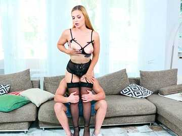 Blonde Sloan Harper wearing lingerie practises making blowjob