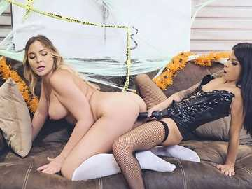Lesbian strap-on party with Blair Williams and Sadie Pop on Halloween