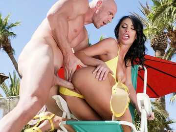 Brunette August Aims gives deepthroat blowjob to her lustful boss outdoors.