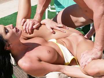 Busty brunette August Ames adores outdoor fucking and pussy licking