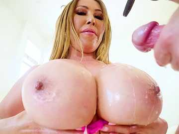 Asian slut Kianna Dior rubs her oily melons against her director's dick