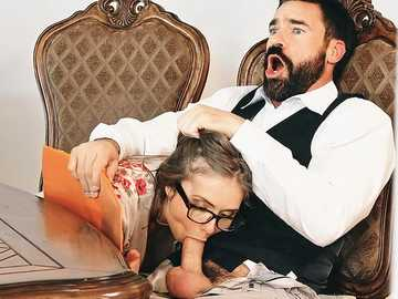 A wedding planner Lena Paul makes a blowjob to her client under a table