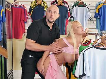 Blonde babe London River comes to by some sporting goods but gets fucked by manager