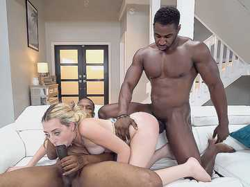 Sweet thing Melody Parker gladly gets in hands of two big black fuckers