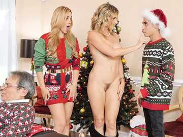 Stepmom Cory Chase and girlfriend Kali Roses share boner of guy at Christmas tree
