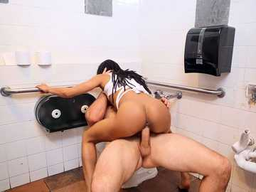 Black chick Kira Noir revenges on white bully by riding his dick in toilet