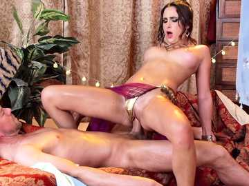 Erik Everhard suddenly finds hot brunette Ashley Adams and fucks her hard