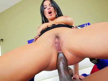 European lassie Anissa Kate is drilled by monstrous black shaft reverse cowgirl style