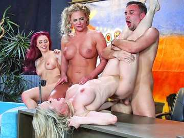 Brandi Love, Marsha May, Monique Alexander, Phoenix Marie and Romi Rain are busted by two wild dicks