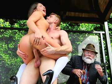Wild school girl Abella Danger is fucked on the bus stop while old man watches