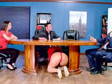 Bosomy blonde Olivia Austin sucks huge dick under the table