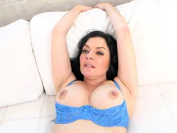 Natural milf Natalie Lovenz removes her blue panties and lets the penis inside