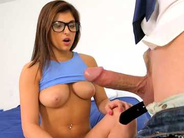Brunette in glasses and blue top Leah Gotti masturbates before taking cock in mouth