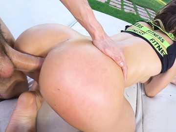 Slim whore Anastasia Brokelin slides her tight asshole on a guy's dick outdoors