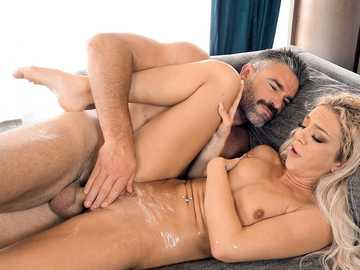 Winsome blonde Tiffany Watson squirts nonstop during sex with moustachioed stud