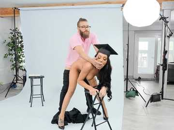 Naughty college graduate Gianna Grey lures a photographer on good coupling