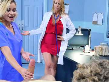 Nasty doctor Alexis Fawx plays with her patient's good member