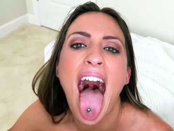 Brunette with tattoo on her belly Lizz Tayler gets mouthful of cum after missionary style banging