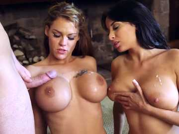 Girls with plump tits Anissa Kate and Aruba Jasmine indulge themselves in steaming threesome
