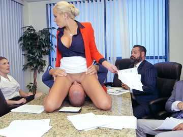Dominant boss Nina Elle enjoys face sitting during the meeting in office