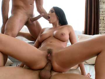 Effective brunette with huge knockers Anissa Kate is in double penetration fever