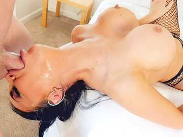 Deep throat fucking and massive facial cumshot from brunette Jasmine Jae