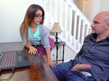 Nasty stepdad Jmac gets the lips of Sally Squirt wrapped over his massive schlong