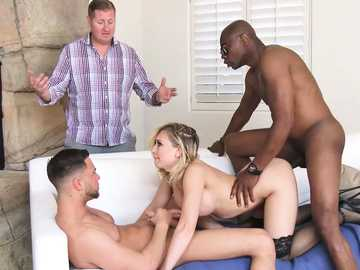 Anal fucking Kagney Linn Karter seems fine model for interracial threesome
