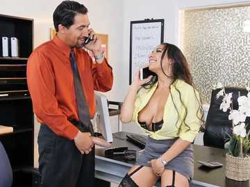Work fantasies of busty brunette Priya Price start from blowjob in stocking