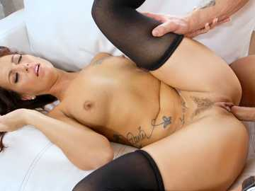 Posh brunette MILF Victoria Banxxx spreads trimmed pussy for hardcore fuck