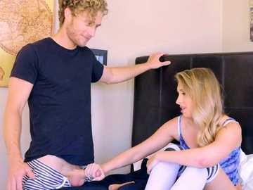 Cute blonde Harley Jade stays alone, fucks herself with dildo and then gets licked by curly guy